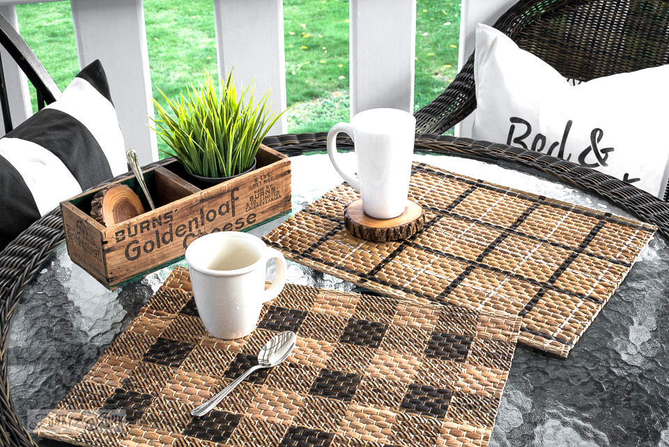 Learn how to add Buffalo Check and Plaid patterns to Ikea rattan placemats with stencils!