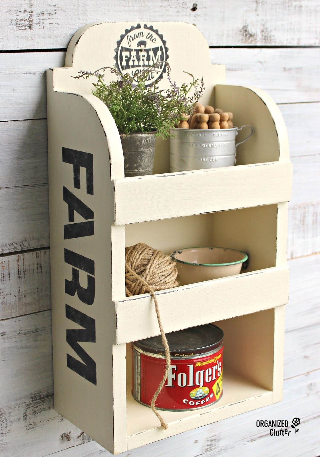Stenciled Farmhouse shelf by Organized Clutter, featured on Funky Junk Interiors