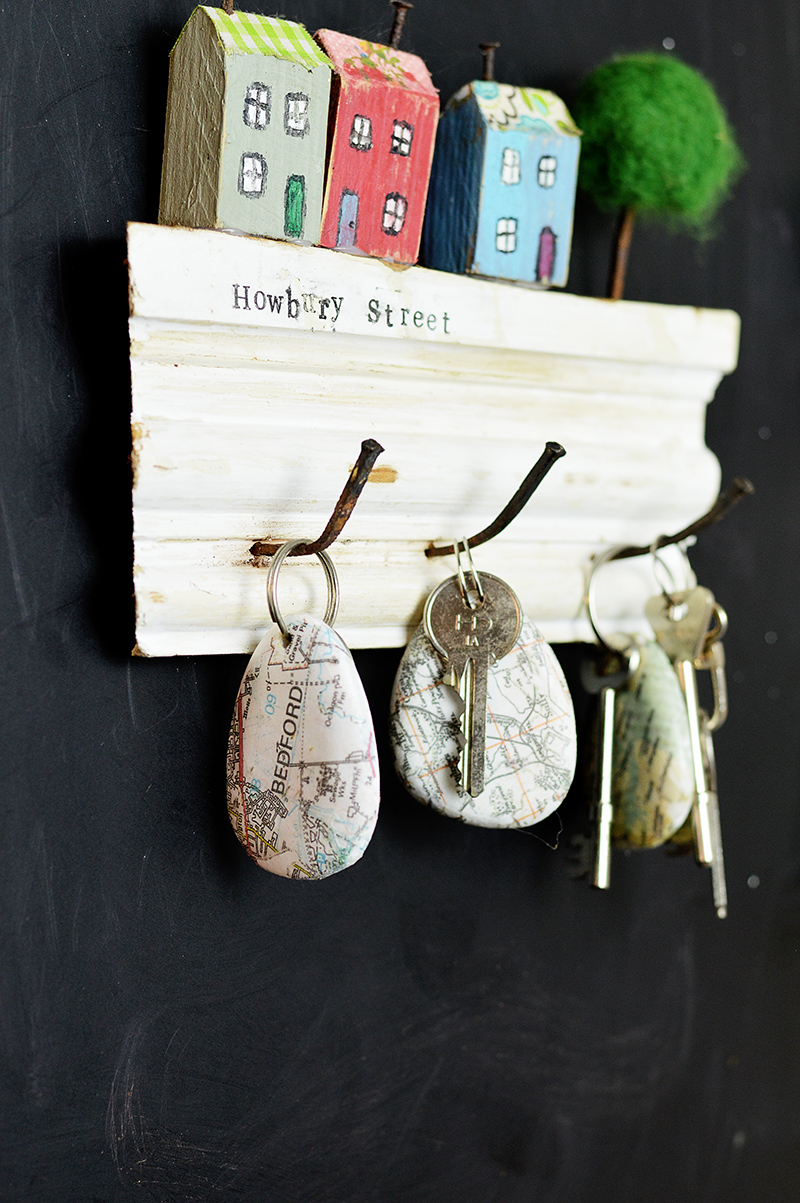 Map keychain rocks by Pillar Box Blue, featured on Funky Junk Interiors