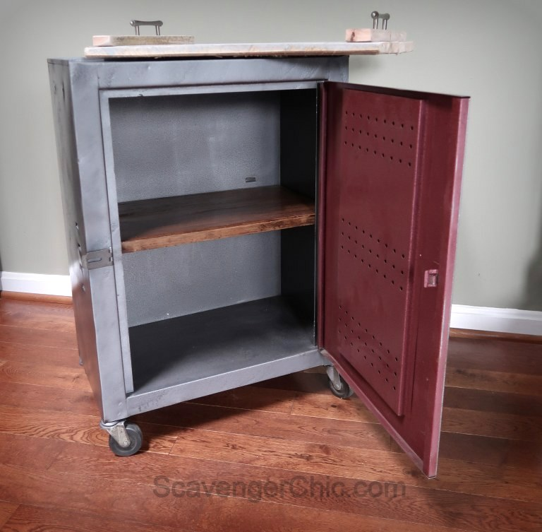 Metal cabinet night stand by Scavenger Chic, featured on Funky Junk Interiors