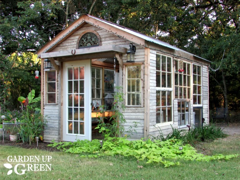 Reclaimed wood and window She Shed greenhouse by Garden Up Green, featured on Funky Junk Interiors