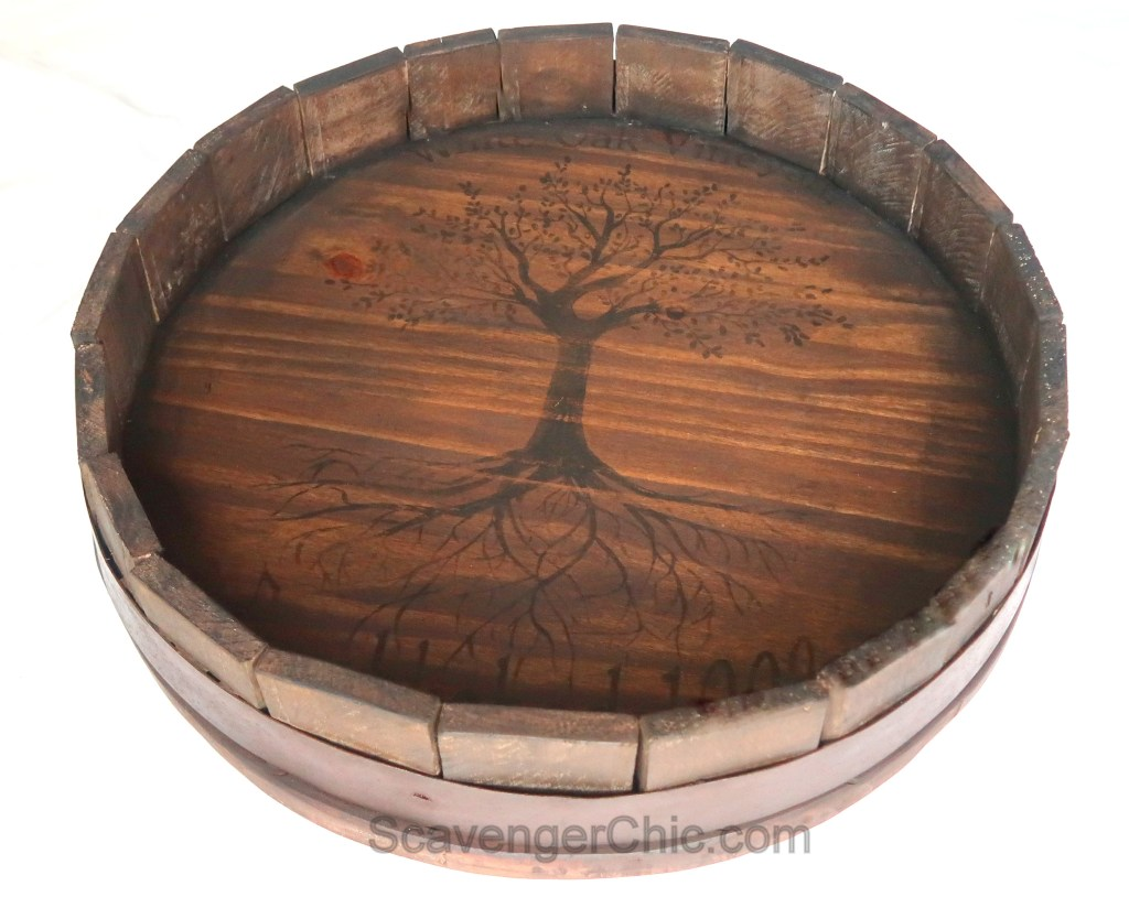 Pallet wood barrel top tray by Scavenger Chic, featured on Funky Junk Interiors