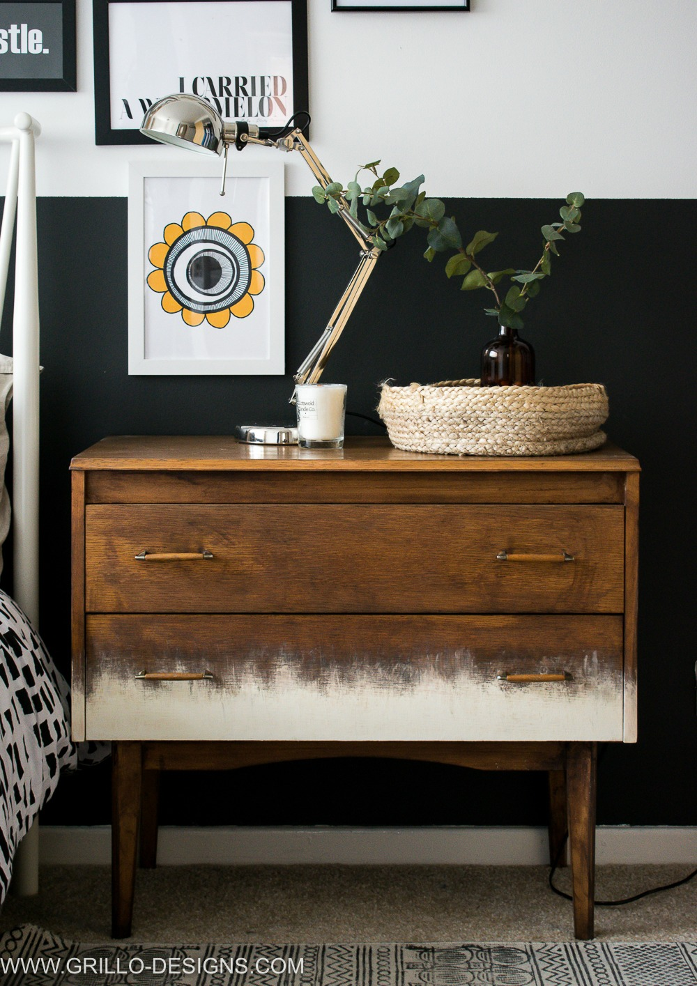 Painted gradient dresser treatment by Grillo Designs, featured on Funky Junk Interiors