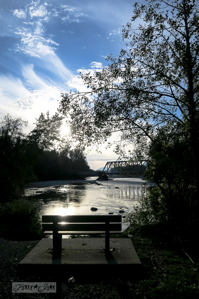 A sunset overlooking the train bridge from Vedder River Rotary Trail in Chilliwack, BC Canada | funkyjunkinteriors.net