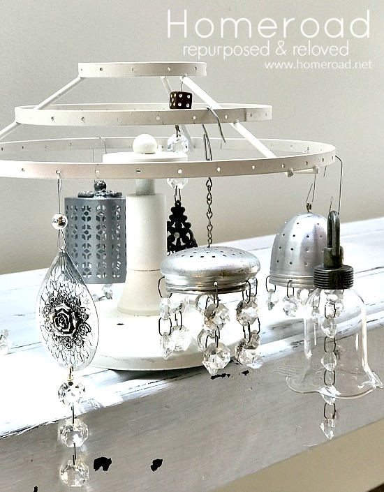 Vintage junk chandelier Christmas ornaments by Homeroad, featured on Funky Junk Interiors
