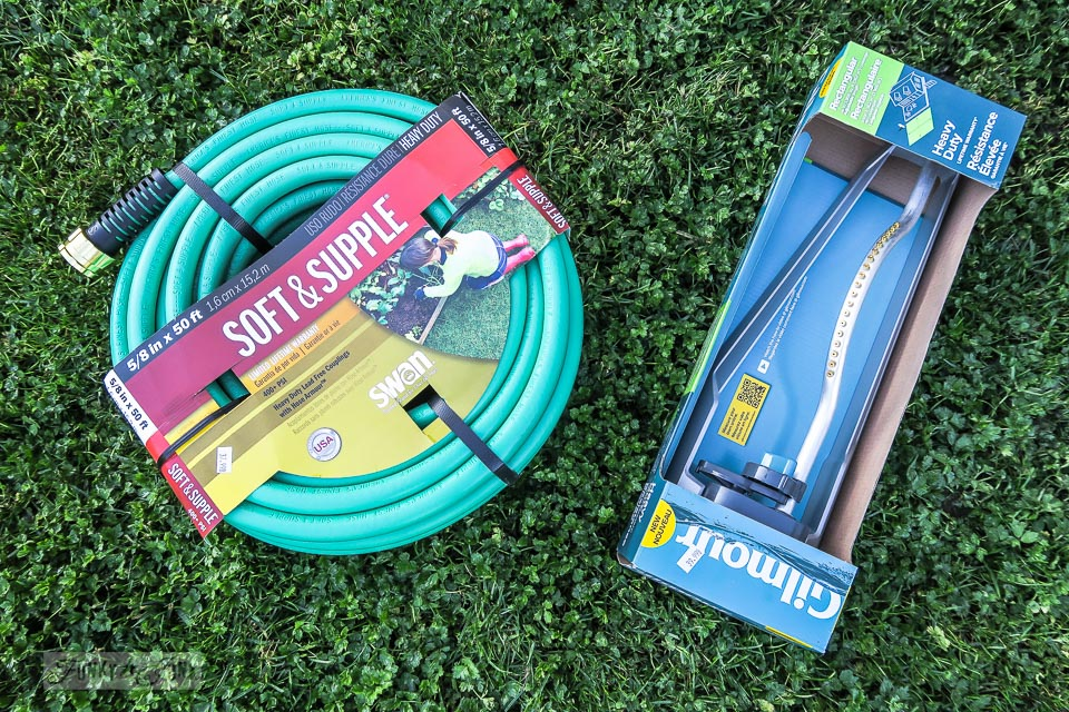 New lawn sprinkler and water hose to help a newly seeded lawn grow | funkyjunkinteriors.net