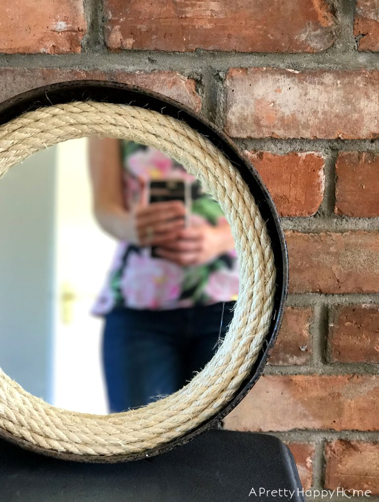 Farmhouse rope mirror by A Pretty Happy Home, featured on Funky Junk Interiors