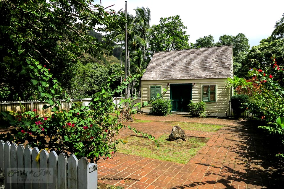 The New England Exhibit, a historic saltbox in Maui's historic Kepaniwai Park. Take the tour! funkyjunkinteriors.net