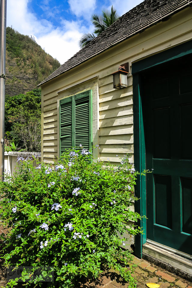 Rustic shutters on the New England Exhibit, a historic saltbox in Maui's historic Kepaniwai Park. Take the tour! funkyjunkinteriors.net