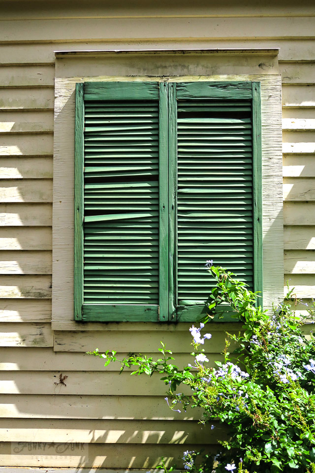 Rustic sage green shutters on the New England Exhibit, a historic saltbox in Maui's historic Kepaniwai Park. Take the tour! funkyjunkinteriors.net