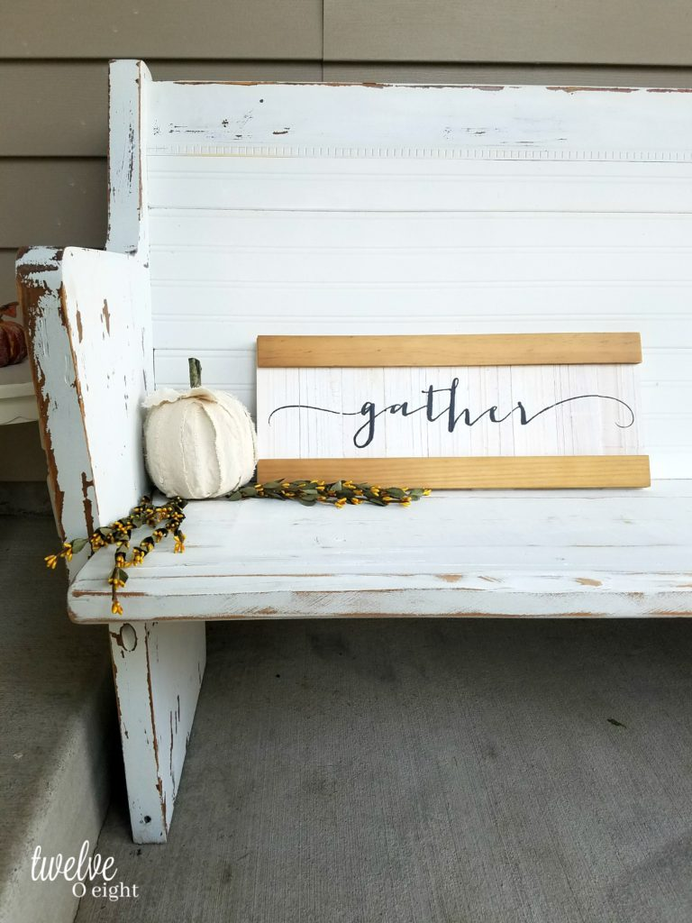 Farmhouse church pew bench by TwelveOEight, featured on Funky Junk Interiors