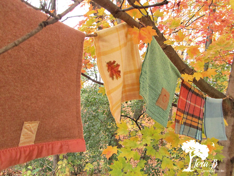 Fall wool blanket bunting by Lora B, featured on Funky Junk Interiors