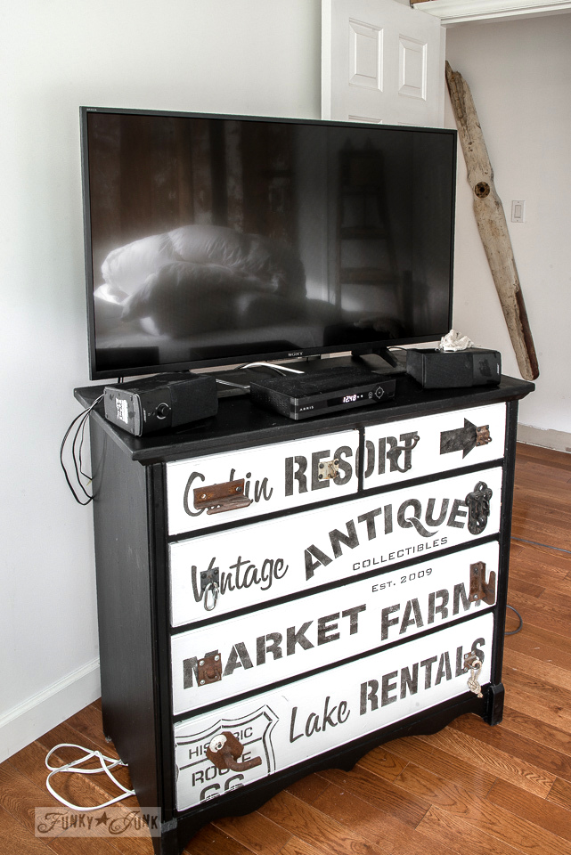 Subway styled TV dresser pulled away from wall for cleaning before Christmas | funkyjunkinteriors.net