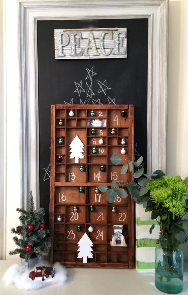 Printer tray farmhouse advent calendar by Refresh Restyle , featured on Funky Junk Interiors