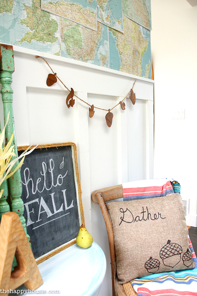 DIY wooden fall woodland banner by The Happy Housie, featured on Funky Junk Interiors