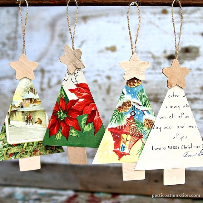 Vintage card Christmas tree ornaments by Petticoat Junktion, featured on Funky Junk Interiors
