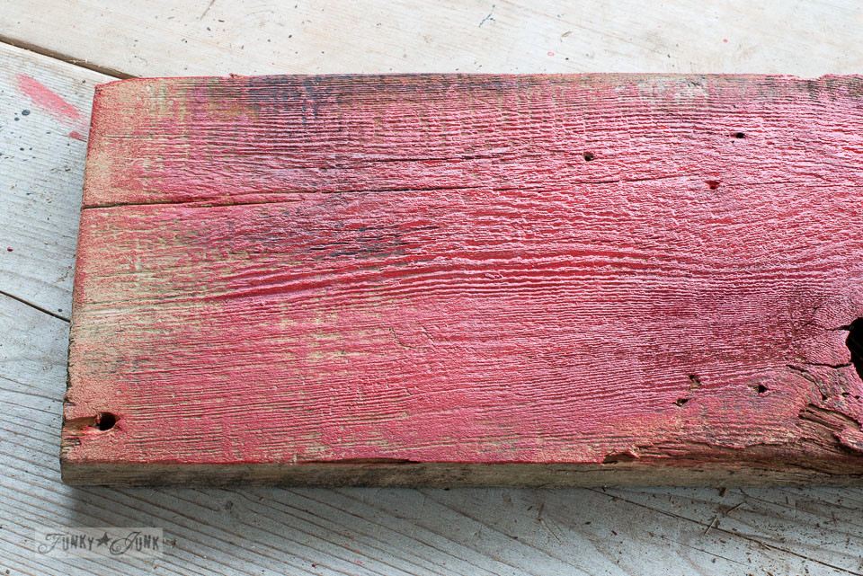 How to create the perfect barn red tone using Fusion Mineral Paint's Fort York Red and Cranberry to create festive directional Christmas signs with Funky Junk's Old Sign Stencils \ funkyjunkinteriors.net