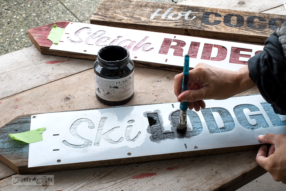 How to paint 2-toned letters to create Christmas signs with Fusion Mineral Paint and Funky Junk's Old Sign Stencils \ funkyjunkinteriors.net