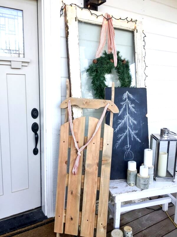 DIY vintage style wooden sleigh by Twelve On Main , featured on Funky Junk Interiors