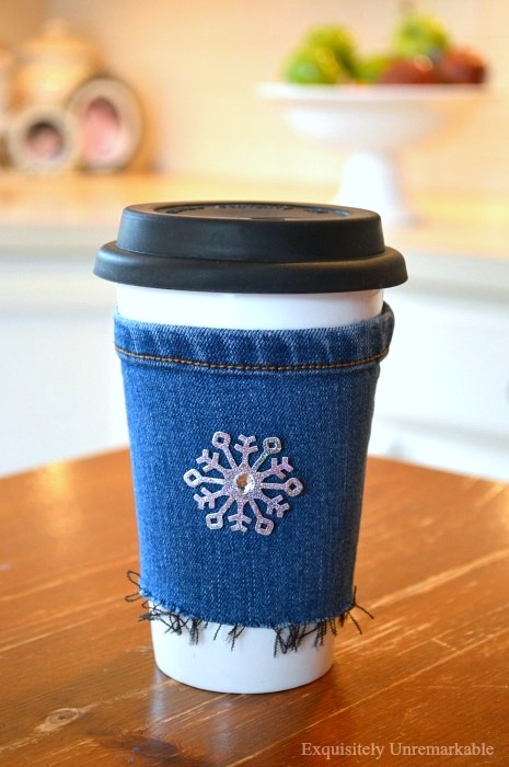 Winter snowflake denim cup cozy by Exquisitely Unremarkable, featured on Funky Junk Interiors