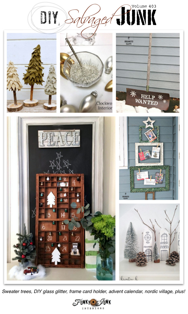 DIY Salvaged Junk Projects 403 - Sweater trees, DIY glass glitter, frame card holder, advent calendar, nordic village, plus! Features and NEW junk projects on funkyjunkinteriors.net