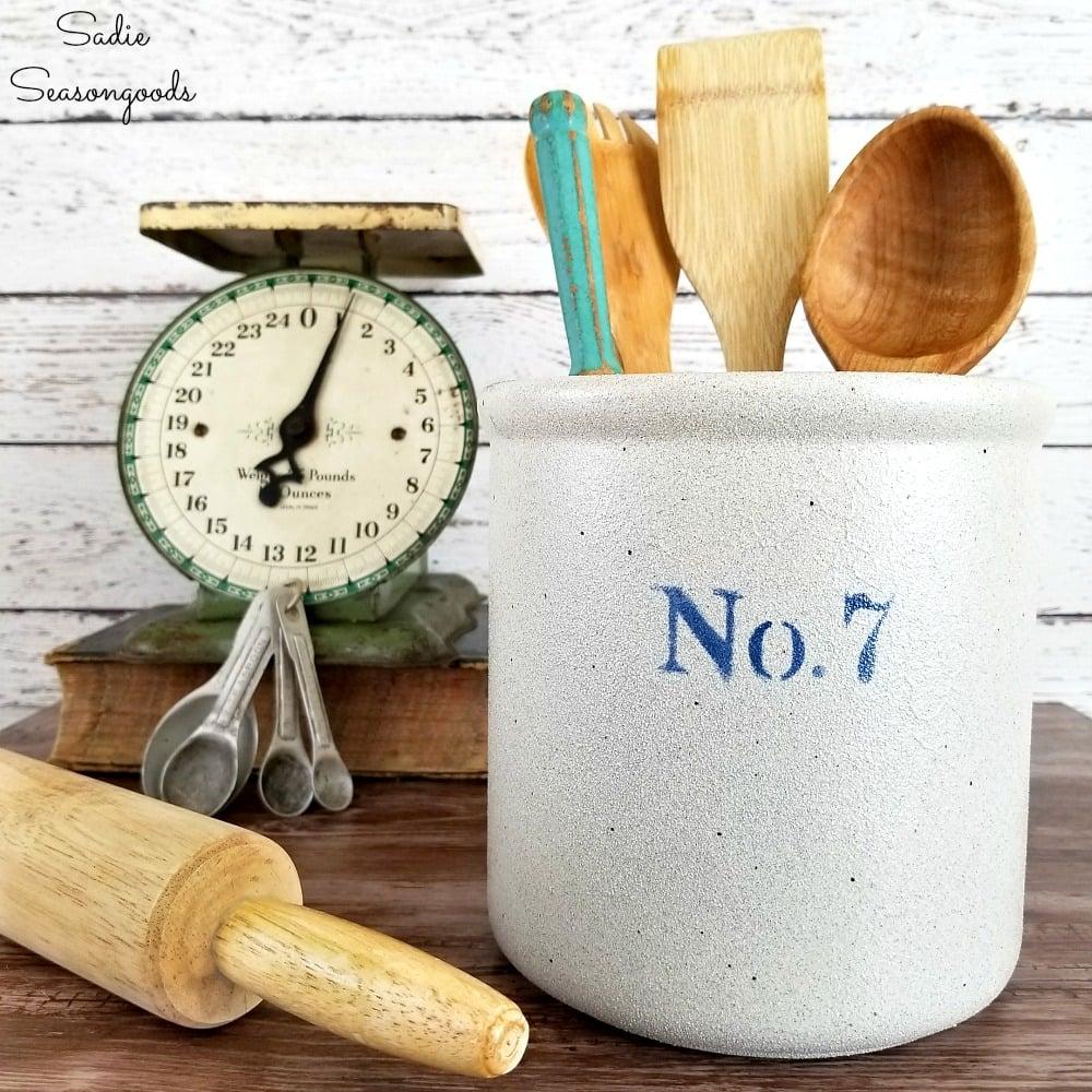 DIY stoneware crock by Sadie Seasongoods, featured on Funky Junk Interiors