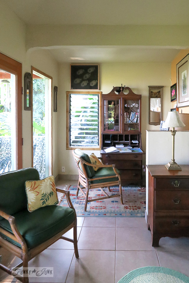 The office area inside the charming and quaint Entabeni Cottage in Nahiku, buried in a tropical forest, part of our Road to Hana adventure in Maui, Hawaii. Read the full story at funkyjunkinteriors.net