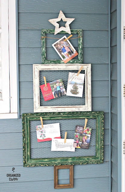 Picture frames Christmas tree card holder by Organized Clutter, featured on Funky Junk Interiors