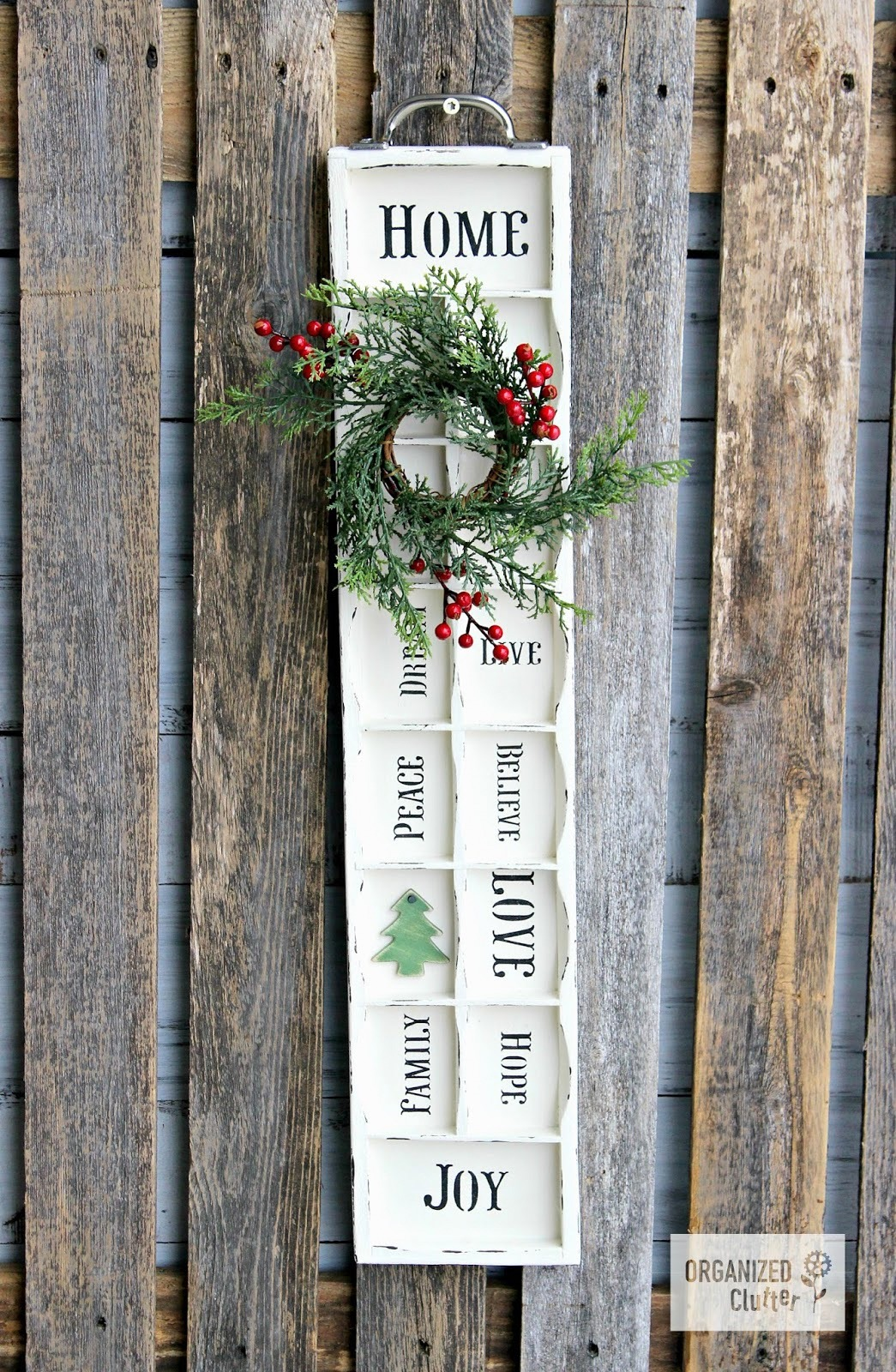 Faux printer tray styled Christmas sign wall art by Organized Clutter, featured on Funky Junk Interiors