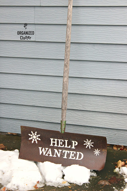 Help Wanted snow shovel sign by Organized Clutter , featured on Funky Junk Interiors