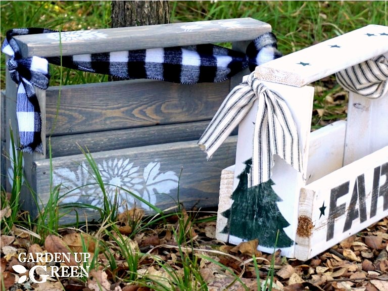 Reclaimed wood stenciled toolbox gift boxes by Garden Up Green, featured on Funky Junk Interiors