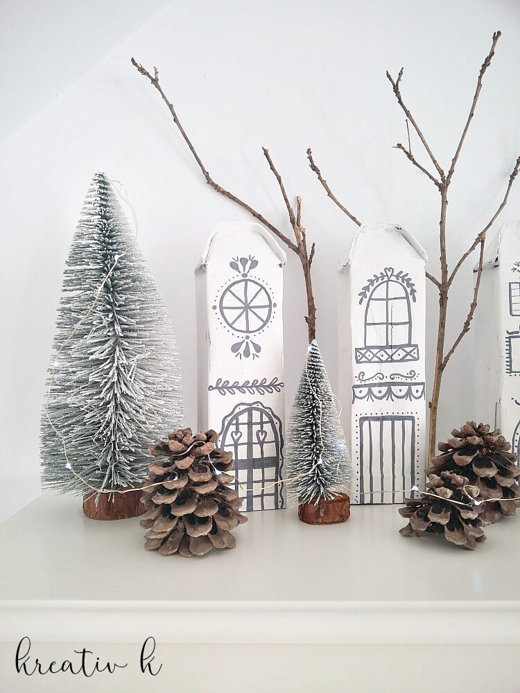 Milk carton nordic Christmas village by Kreativ K, featured on Funky Junk Interiors