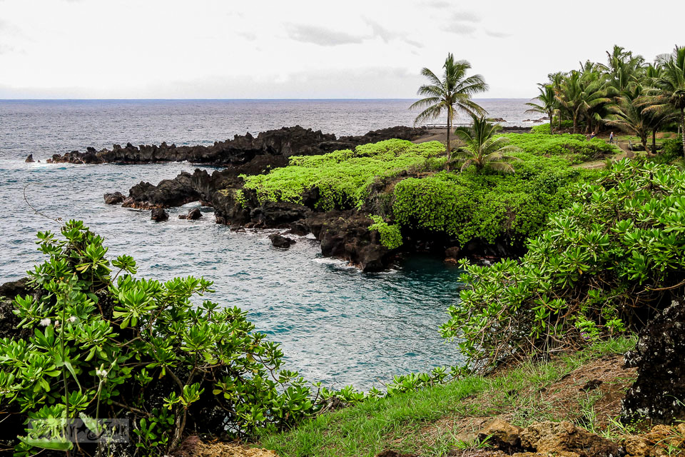 The unbelievably stunning Waianapanapa State Park ocean view, home of the black sand beach, along the Road to Hana, Maui, Hawaii | funkyjunkinteriors.net