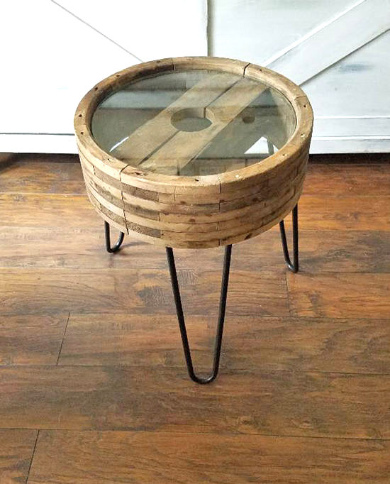 Antique wheel and pin leg side table by The Honeycomb Home, featured on Funky Junk Interiors