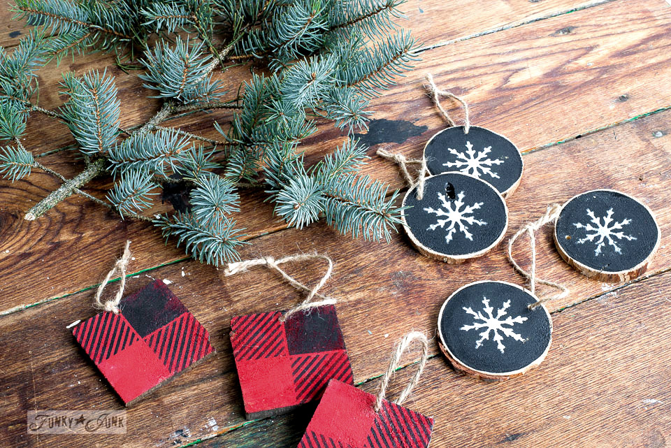 Scrap wood buffalo check and snowflake Christmas ornaments, easy to make and super price efficient! Made with Funky Junk's Old Sign Stencils and Fusion Mineral Paint. Full tutorial at funkyjunkinteriors.net