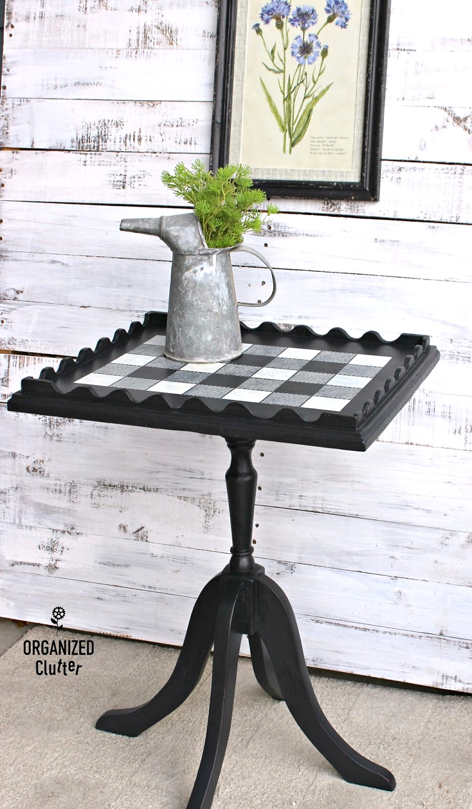 Buffalo Checked black side table by Organized Clutter, featured on Funky Junk Interiors