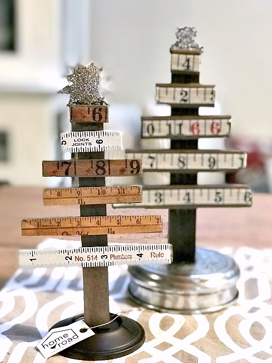 Vintage ruler Christmas trees by Homeroad, featured on Funky Junk Interiors