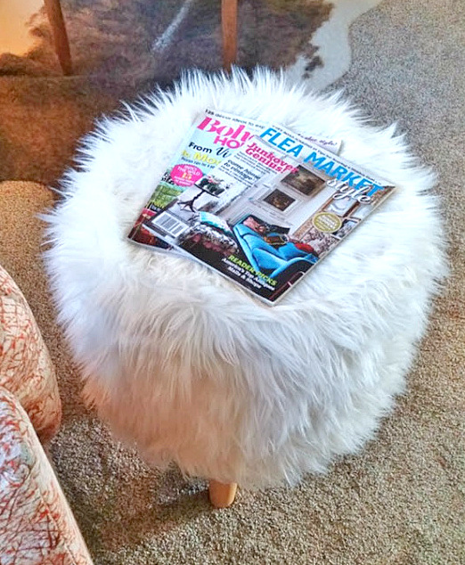 Fluffy Pottery Barn inspired footstool by Little Vintage Cottage, featured on Funky Junk Interiors
