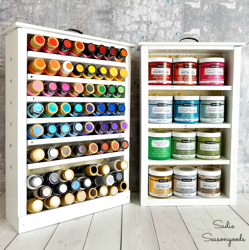 Repurposed drawer paint storage shelves by Sadie Seasongoods, featured on Funky Junk Interiors