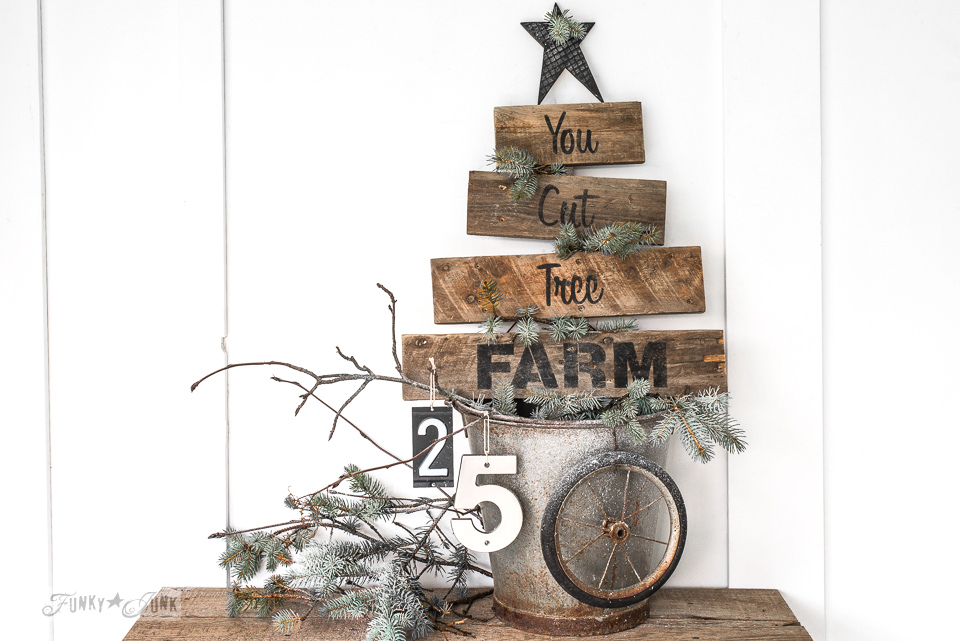 pallet wood You Cut Tree Farm Christmas sign in a bucket