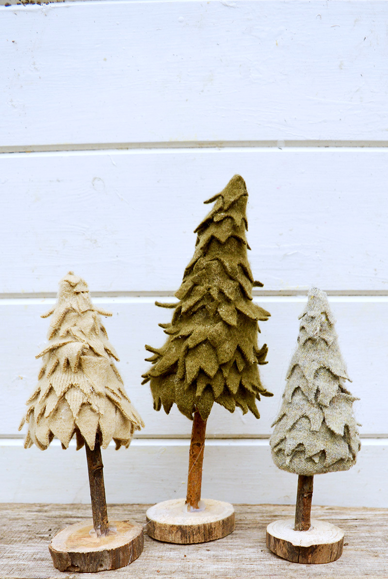 Sweater scrap Christmas trees by Pillar Box Blue , featured on Funky Junk Interiors