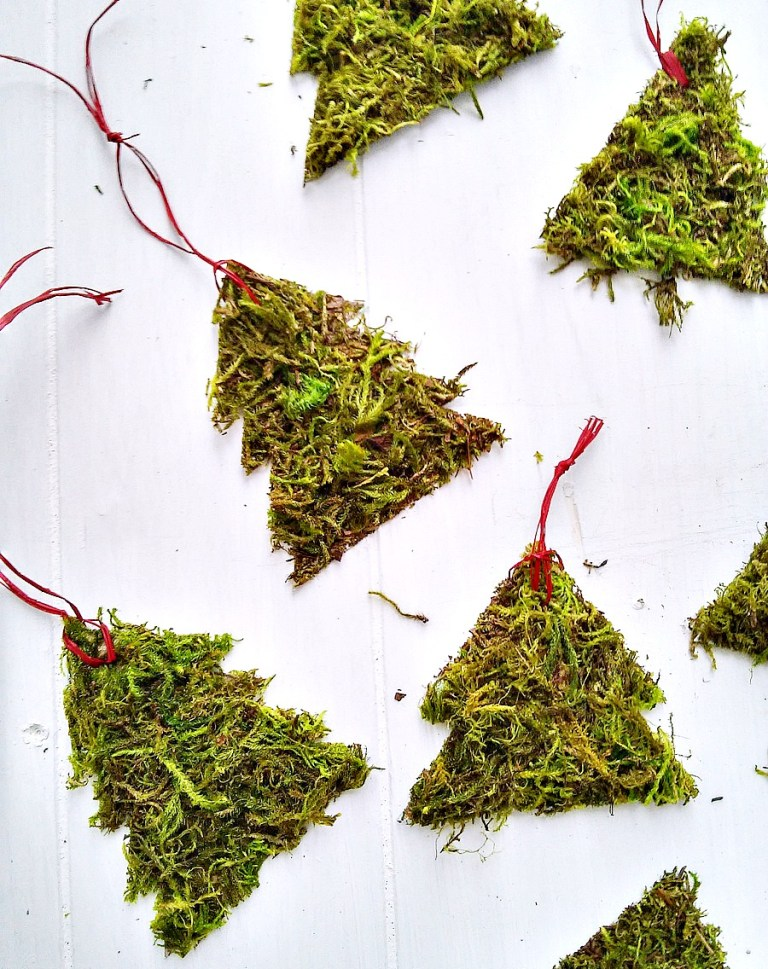 DIY moss tree ornaments by Stow and Tell U, featured on Funky Junk Interiors