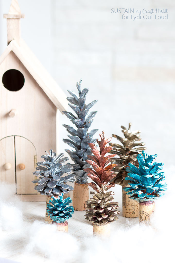 Painted pinecone and cork Christmas tree decor by Lydia Out Loud, featured on Funky Junk Interiors
