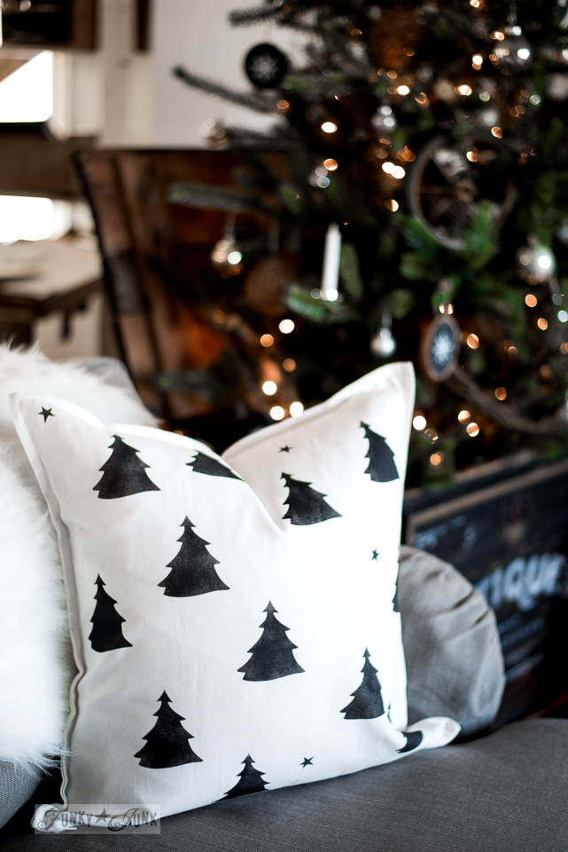 Christmas tree pillow in black and white on an Ikea pillow case and insert, made with Funky Junk's Old Sign Stencils and Fusion Mineral Paint, part of Funky Junk Interiors' Christmas home tour. See it all at funkyjunkinteriors.net #christmas