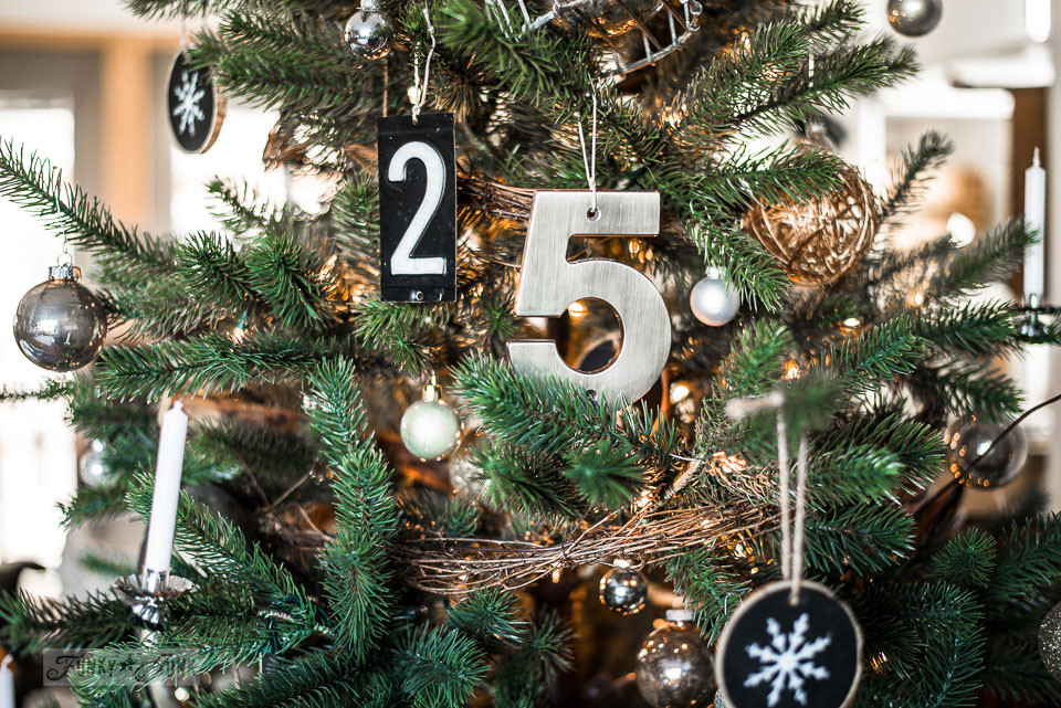 House numbers 2 5 on a faux Christmas tree, part of Funky Junk Interiors' Christmas home tour. See it all at funkyjunkinteriors.net #christmas