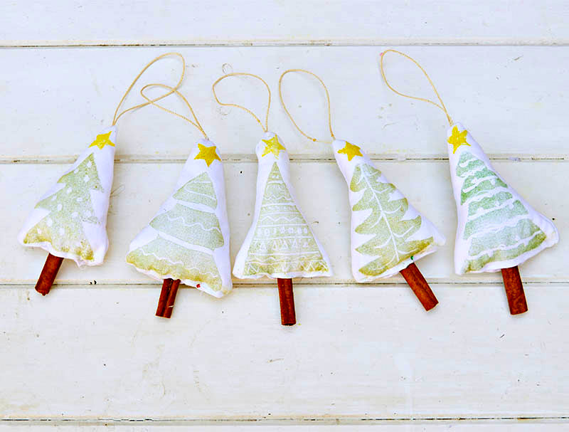 Stamped Christmas tree ornaments by Pillar Box Blue, featured on Funky Junk Interiors