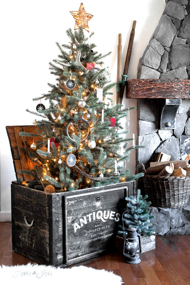 Make this Antiques crate for a Christmas tree skirt. Tutorial on funkyjunkinteriors.net #christmasdecor #christmasmantel #christmas #mantel #fireplace