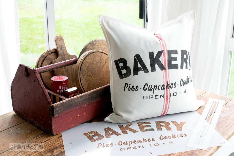 BAKERY with grainsack lines stenciled onto an Ikea pillow. With Funky Junk's Old Sign Stencils and Fusion Mineral Paint. #funkyjuinkinteriors #oldsignstencils #fushionmineralpaint #fortyorkred #coalblack #pillows #stencils #vintage #farmhouse