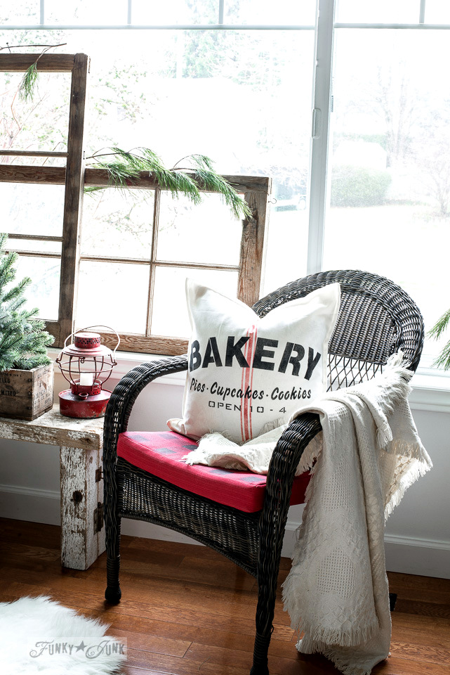 Bakery vintage grain sack pillow for Christmas and everyday, made with Funky Junk's Old Sign Stencils and Fusion Mineral Paint | tutorial on funkyjunkinteriors.net #oldsignstencils #funkyjunkinteriors #christmasdecor #pillows #fusionmineralpaint