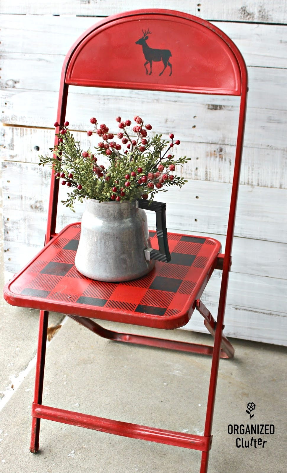 Buffalo Checked red metal folding chair with Christmas theme by Organized Clutter, featured on Funky Junk Interiors